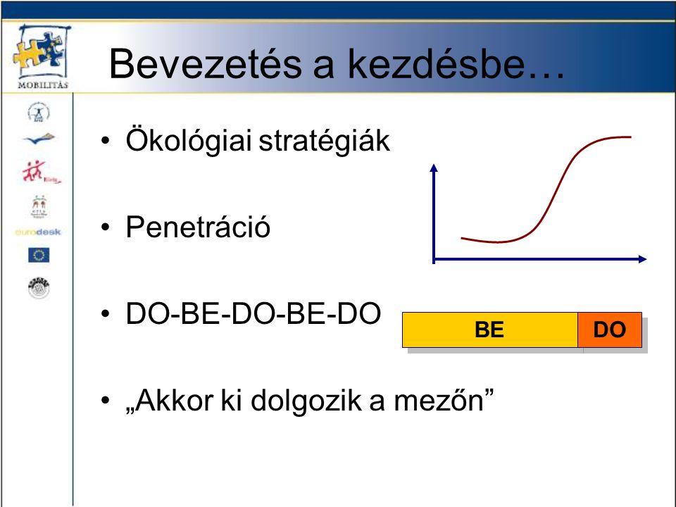 """Bevezetés a kezdésbe… •Ökológiai stratégiák •Penetráció •DO-BE-DO-BE-DO •""""Akkor ki dolgozik a mezőn"""" BE DO"""
