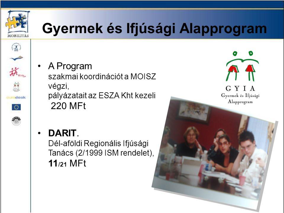 Gyermek és Ifjúsági Alapprogram •A Program szakmai koordinációt a MOISZ végzi, pályázatait az ESZA Kht kezeli 220 MFt •DARIT. Dél-aföldi Regionális If