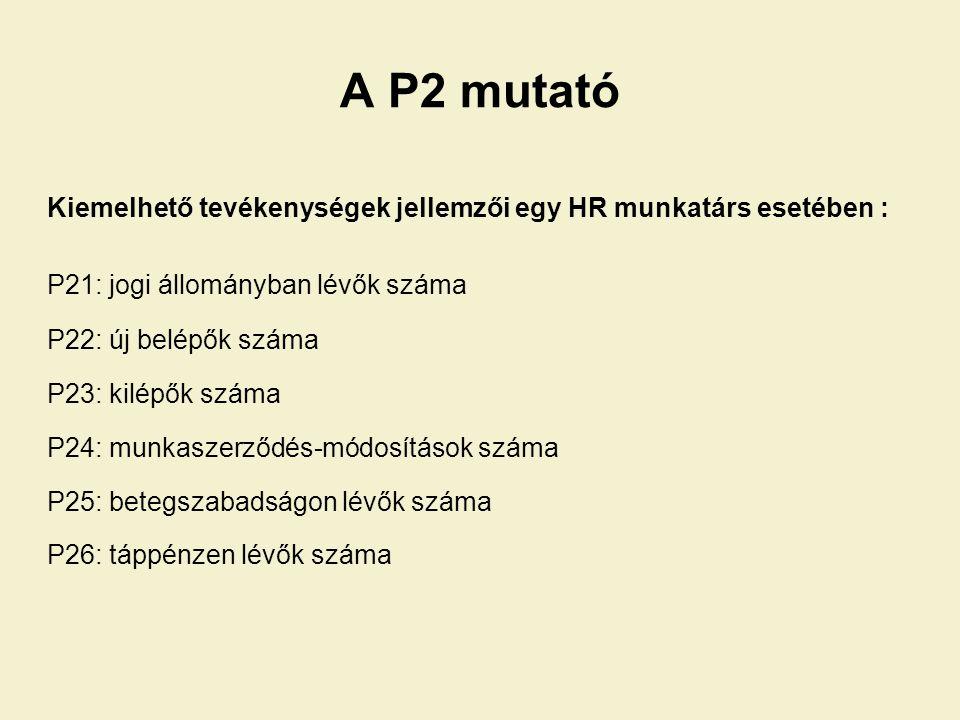 A P2 mutató Kiemelhető tevékenységek jellemzői egy HR munkatárs esetében : P21: jogi állományban lévők száma P22: új belépők száma P23: kilépők száma