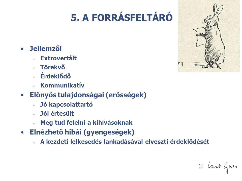 © 5. A FORRÁSFELTÁRÓ •Jellemzői  Extrovertált  Törekvő  Érdeklődő  Kommunikatív •Előnyős tulajdonságai (erősségek)  Jó kapcsolattartó  Jól értes