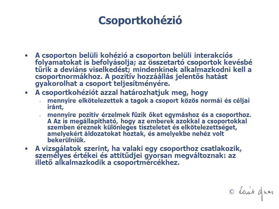 © Csoportkohézió •A csoporton belüli kohézió a csoporton belüli interakciós folyamatokat is befolyásolja; az összetartó csoportok kevésbé tűrik a devi