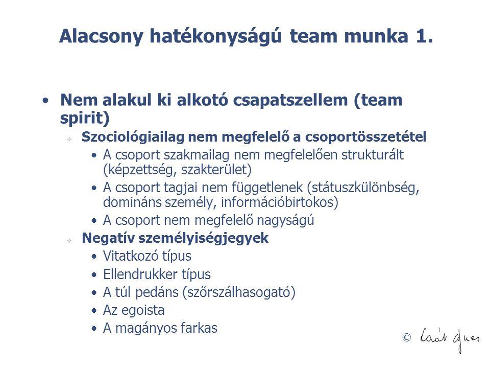 © Alacsony hatékonyságú team munka 1. •Nem alakul ki alkotó csapatszellem (team spirit)  Szociológiailag nem megfelelő a csoportösszetétel •A csoport