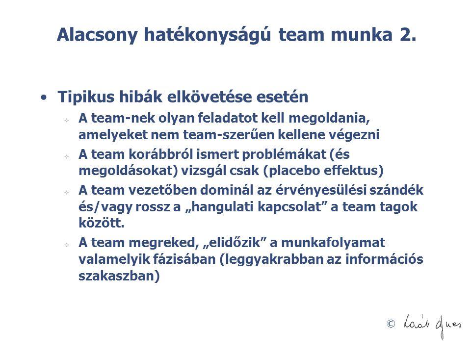 © Alacsony hatékonyságú team munka 2. •Tipikus hibák elkövetése esetén  A team-nek olyan feladatot kell megoldania, amelyeket nem team-szerűen kellen
