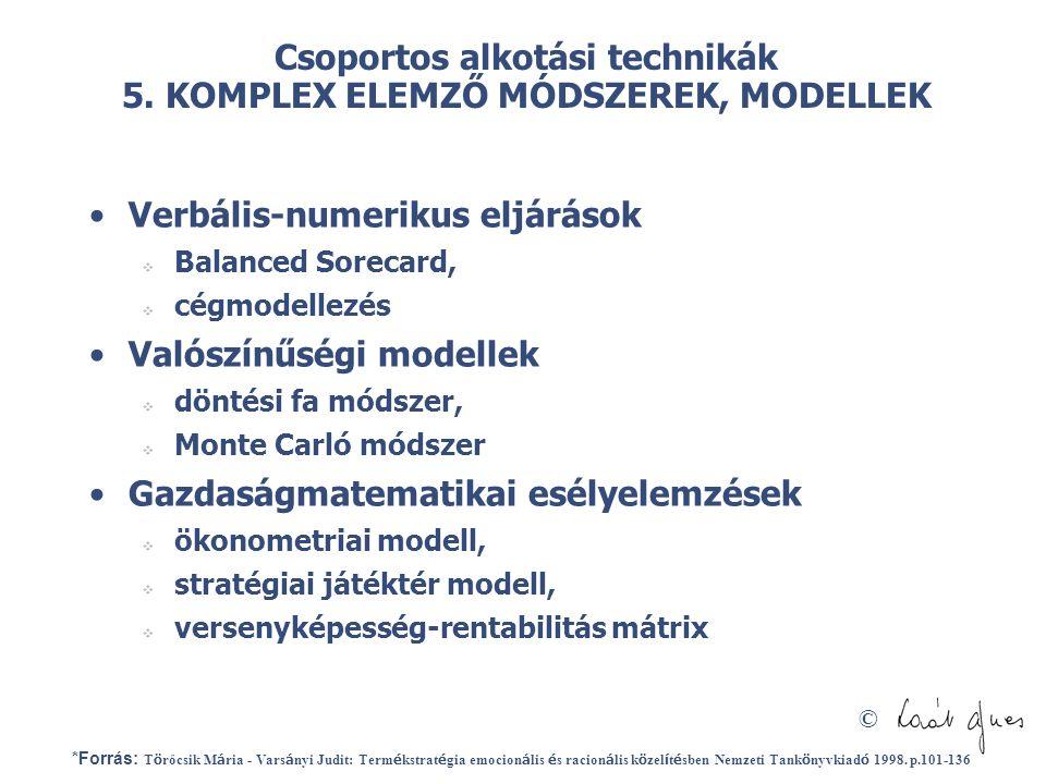 © Csoportos alkotási technikák 5. KOMPLEX ELEMZŐ MÓDSZEREK, MODELLEK •Verbális-numerikus eljárások  Balanced Sorecard,  cégmodellezés •Valószínűségi