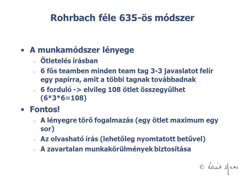 © Rohrbach féle 635-ös módszer •A munkamódszer lényege  Ötletelés írásban  6 fős teamben minden team tag 3-3 javaslatot felír egy papírra, amit a tö