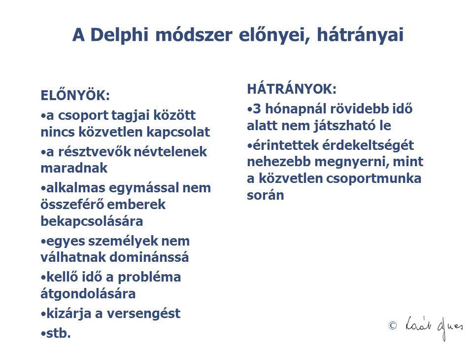 © A Delphi módszer előnyei, hátrányai ELŐNYÖK: •a csoport tagjai között nincs közvetlen kapcsolat •a résztvevők névtelenek maradnak •alkalmas egymássa