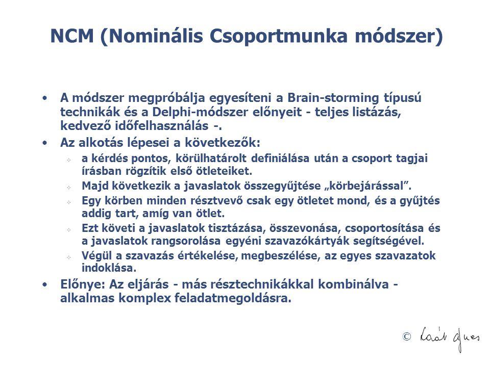 © NCM (Nominális Csoportmunka módszer) •A módszer megpróbálja egyesíteni a Brain-storming típusú technikák és a Delphi-módszer előnyeit - teljes listá