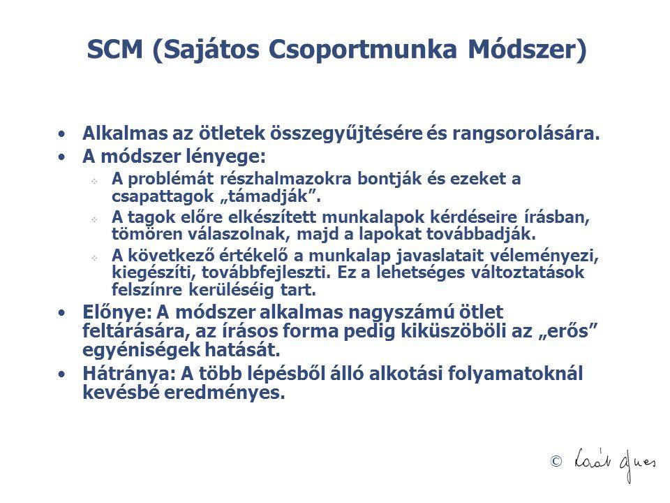 © SCM (Sajátos Csoportmunka Módszer) •Alkalmas az ötletek összegyűjtésére és rangsorolására. •A módszer lényege:  A problémát részhalmazokra bontják