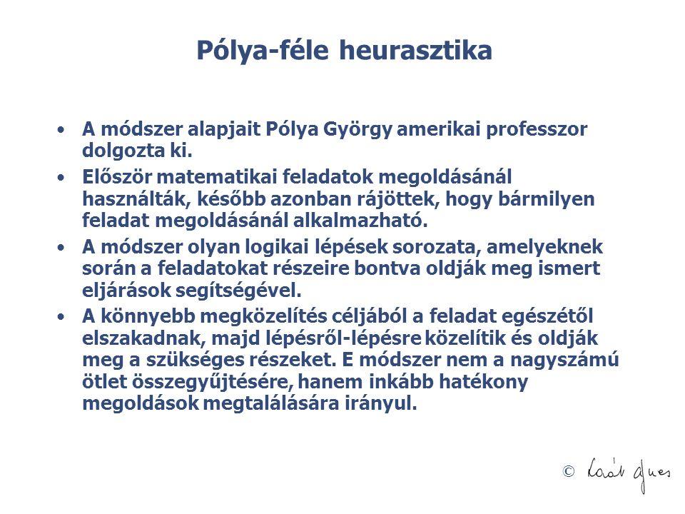 © Pólya-féle heurasztika •A módszer alapjait Pólya György amerikai professzor dolgozta ki. •Először matematikai feladatok megoldásánál használták, kés