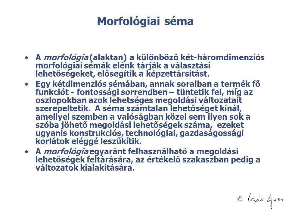 © Morfológiai séma •A morfológia (alaktan) a különböző két-háromdimenziós morfológiai sémák elénk tárják a választási lehetőségeket, elősegítik a képz