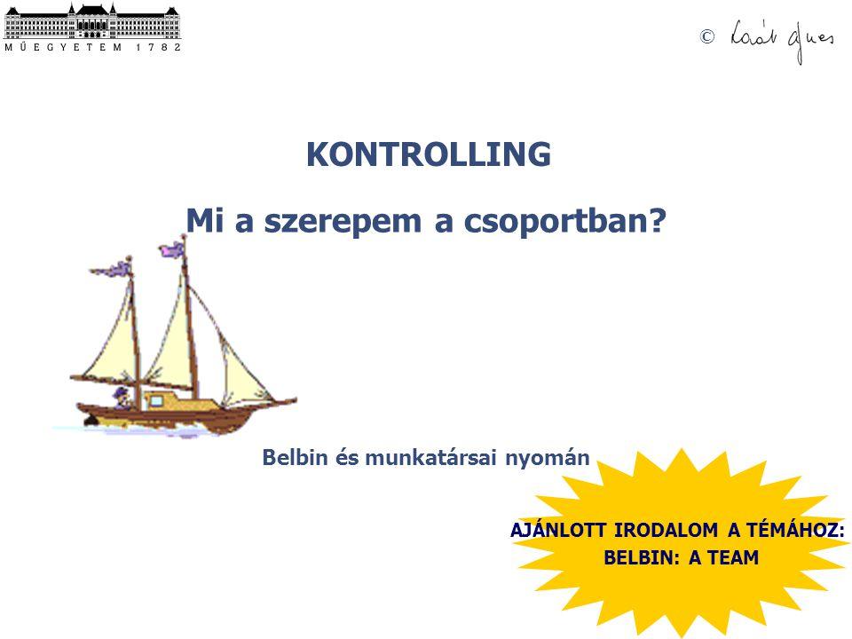© BELBIN TESZT ÉRTÉKELÉSE SZEREPE K- PONTÉR- TÉKEK 1.
