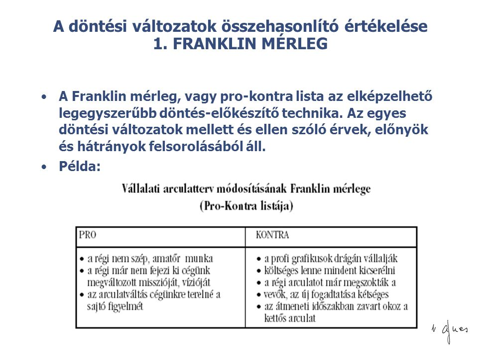 © A döntési változatok összehasonlító értékelése 1. FRANKLIN MÉRLEG •A Franklin mérleg, vagy pro-kontra lista az elképzelhető legegyszerűbb döntés-elő