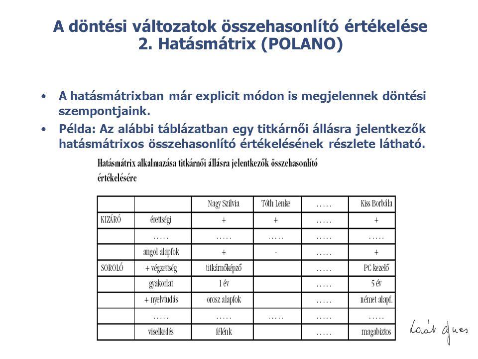 © A döntési változatok összehasonlító értékelése 2. Hatásmátrix (POLANO) •A hatásmátrixban már explicit módon is megjelennek döntési szempontjaink. •P