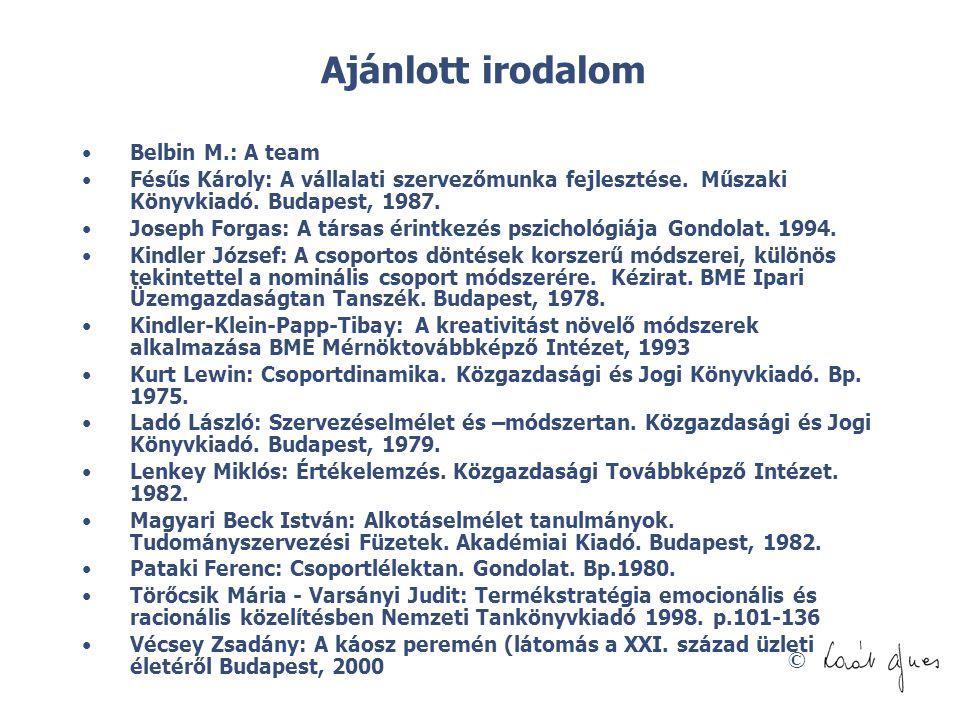 © Ajánlott irodalom •Belbin M.: A team •Fésűs Károly: A vállalati szervezőmunka fejlesztése. Műszaki Könyvkiadó. Budapest, 1987. •Joseph Forgas: A tár