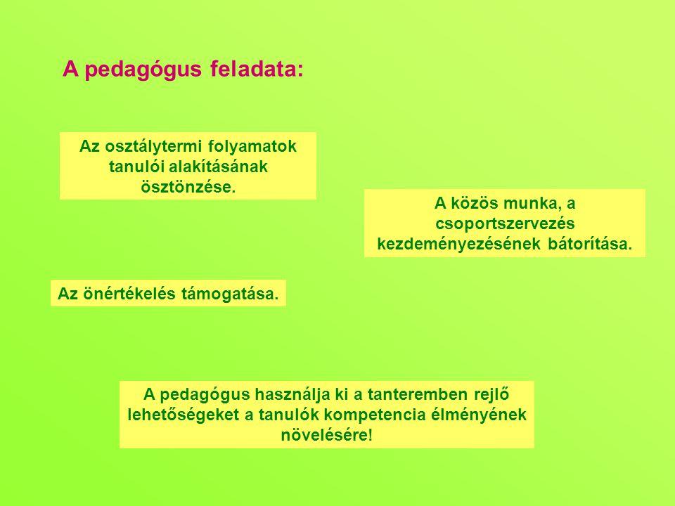 A pedagógus feladata: Az osztálytermi folyamatok tanulói alakításának ösztönzése.