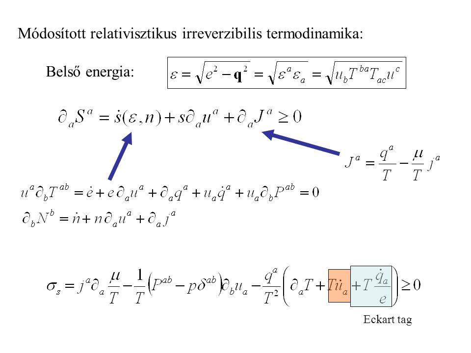 Módosított relativisztikus irreverzibilis termodinamika: Eckart tag Belső energia: