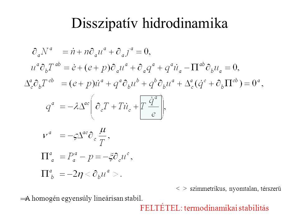 Disszipatív hidrodinamika szimmetrikus, nyomtalan, térszerű  A homogén egyensúly lineárisan stabil.