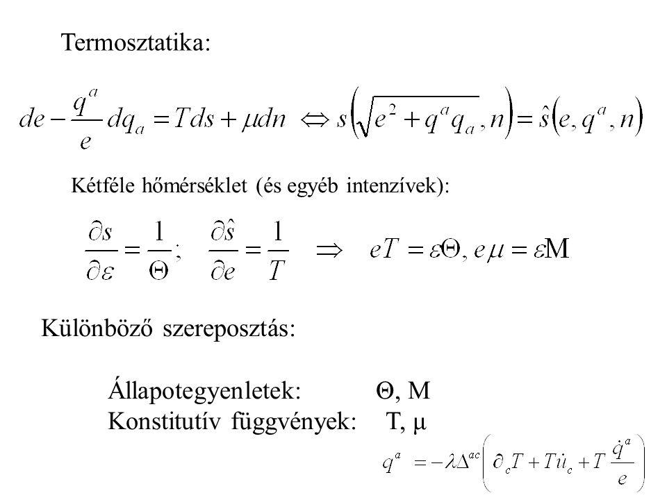 Termosztatika: Kétféle hőmérséklet (és egyéb intenzívek): Különböző szereposztás: Állapotegyenletek: Θ, M Konstitutív függvények: T, μ