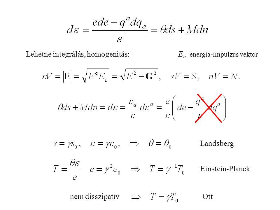 Landsberg Einstein-Planck Lehetne integrálás, homogenitás:E a energia-impulzus vektor Ottnem disszipatív