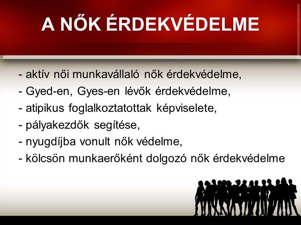 A SZAKSZERVEZET A NŐI MUNKAVÁLLALÓKÉRT A szakszervezet a munkavállalók olyan érdekvédelmet szolgáló tartós egyesülése, amelynek célja közös követeléseinek elérése a munka világában.