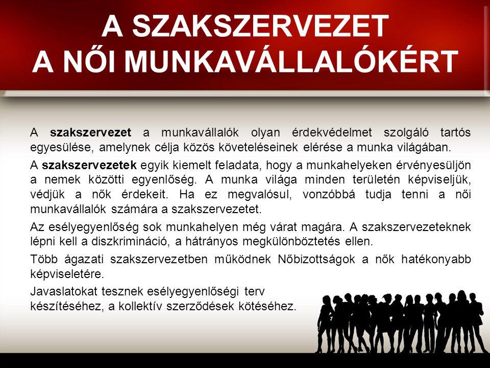 A SZAKSZERVEZET A NŐI MUNKAVÁLLALÓKÉRT A szakszervezet a munkavállalók olyan érdekvédelmet szolgáló tartós egyesülése, amelynek célja közös követelése