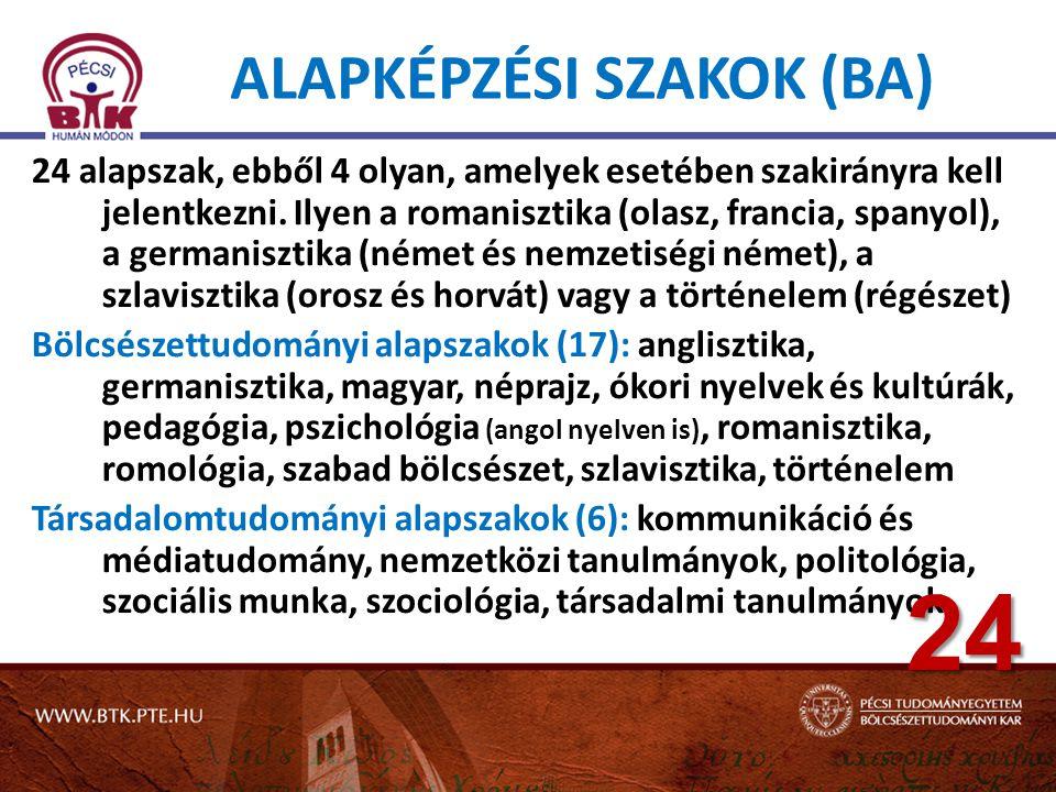 ALAPKÉPZÉSI SZAKOK (BA) 24 alapszak, ebből 4 olyan, amelyek esetében szakirányra kell jelentkezni. Ilyen a romanisztika (olasz, francia, spanyol), a g