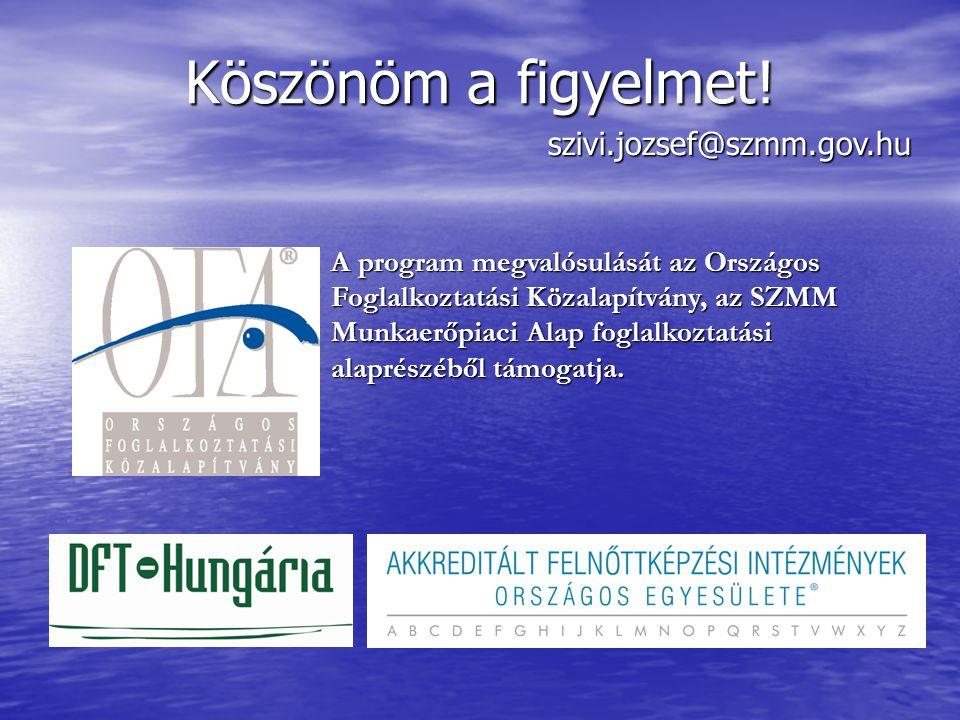 A program megvalósulását az Országos Foglalkoztatási Közalapítvány, az SZMM Munkaerőpiaci Alap foglalkoztatási alaprészéből támogatja. Köszönöm a figy