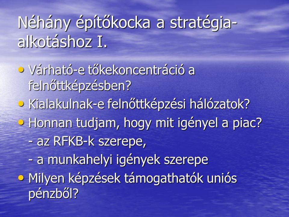 Néhány építőkocka a stratégia- alkotáshoz I. • Várható-e tőkekoncentráció a felnőttképzésben? • Kialakulnak-e felnőttképzési hálózatok? • Honnan tudja