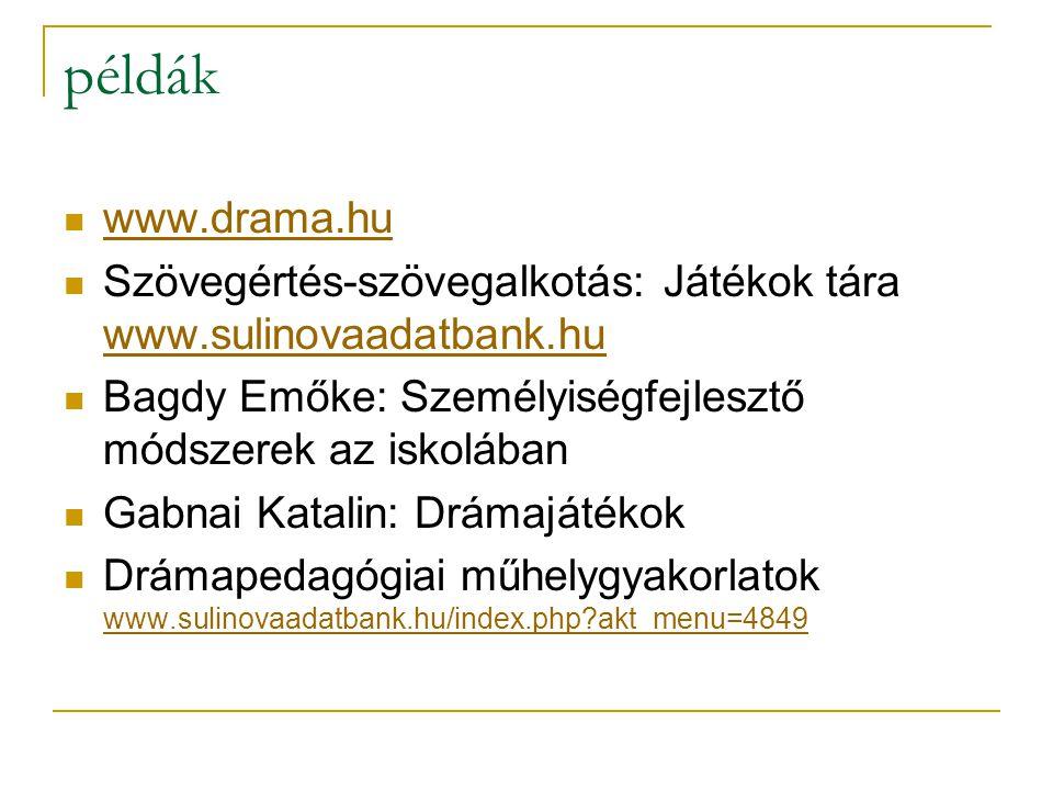 példák  www.drama.hu www.drama.hu  Szövegértés-szövegalkotás: Játékok tára www.sulinovaadatbank.hu www.sulinovaadatbank.hu  Bagdy Emőke: Személyisé