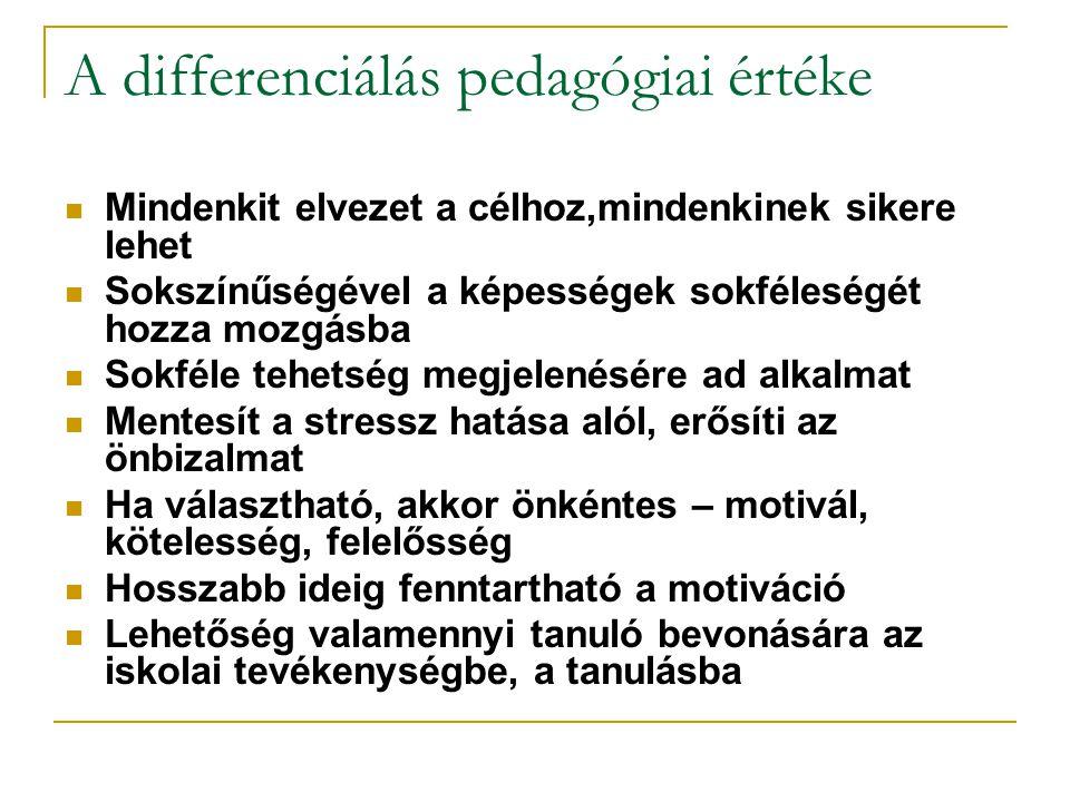 A differenciálás pedagógiai értéke  Mindenkit elvezet a célhoz,mindenkinek sikere lehet  Sokszínűségével a képességek sokféleségét hozza mozgásba 