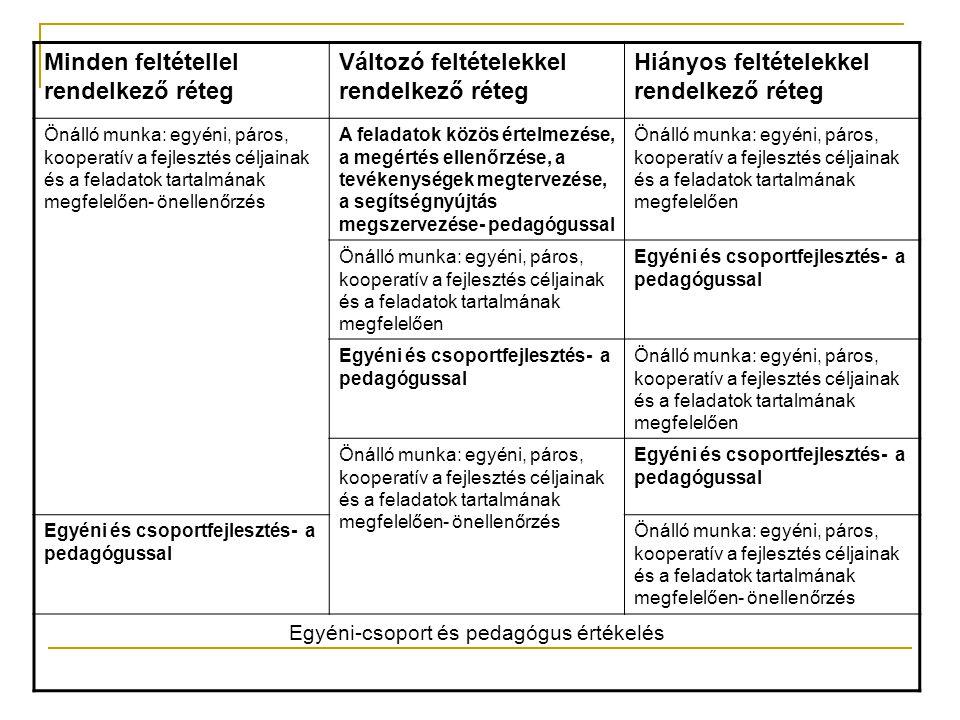 Minden feltétellel rendelkező réteg Változó feltételekkel rendelkező réteg Hiányos feltételekkel rendelkező réteg Önálló munka: egyéni, páros, koopera