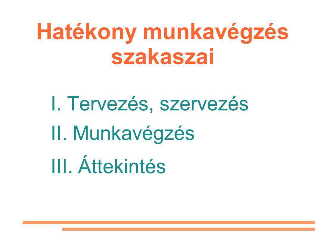Hatékony munkavégzés szakaszai I. Tervezés, szervezés II. Munkavégzés III. Áttekintés
