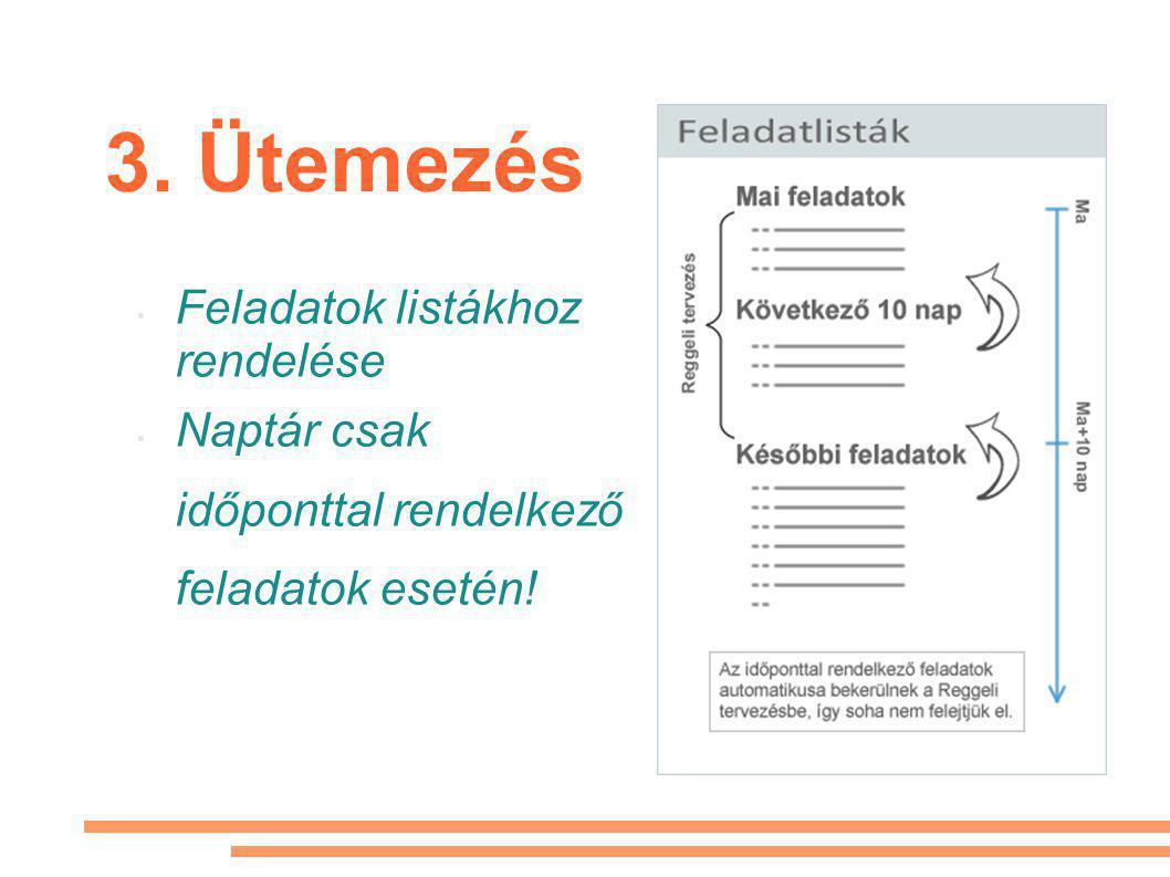 3. Ütemezés • Feladatok listákhoz rendelése • Naptár csak időponttal rendelkező feladatok esetén!