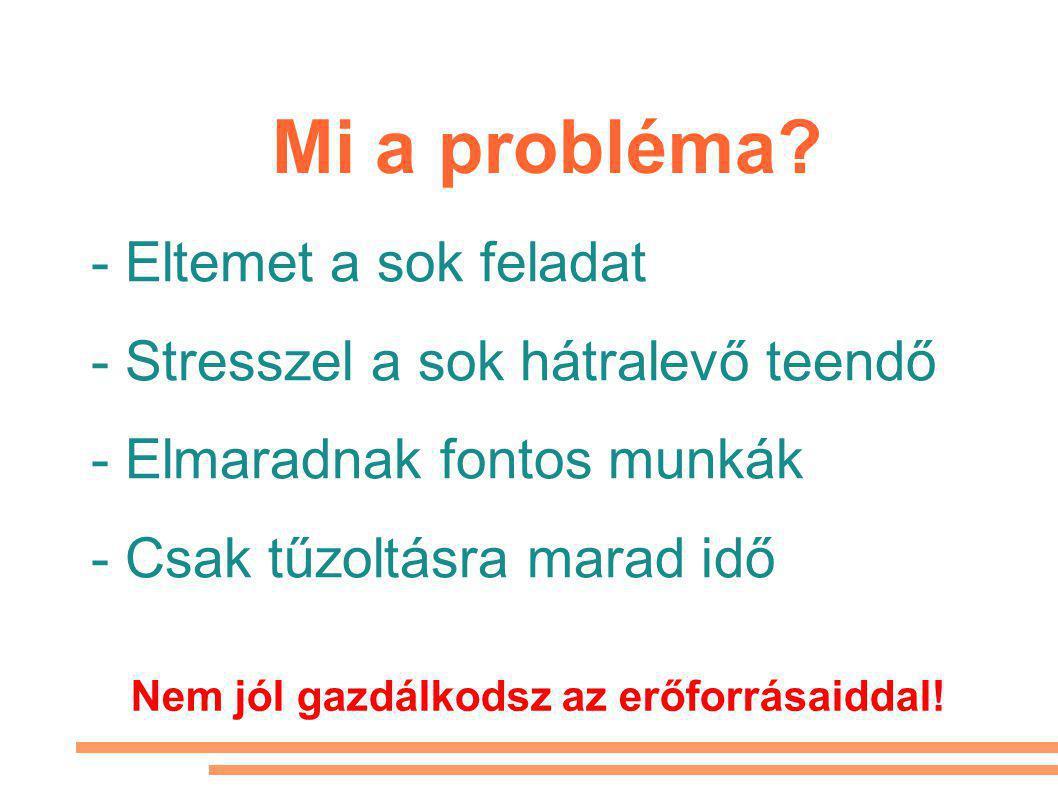- Eltemet a sok feladat - Stresszel a sok hátralevő teendő - Elmaradnak fontos munkák - Csak tűzoltásra marad idő Mi a probléma.
