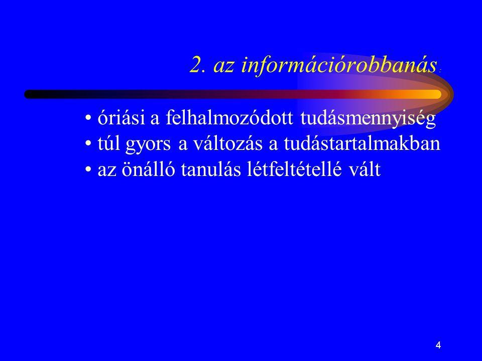 4 2. az információrobbanás : • óriási a felhalmozódott tudásmennyiség • túl gyors a változás a tudástartalmakban • az önálló tanulás létfeltétellé vál