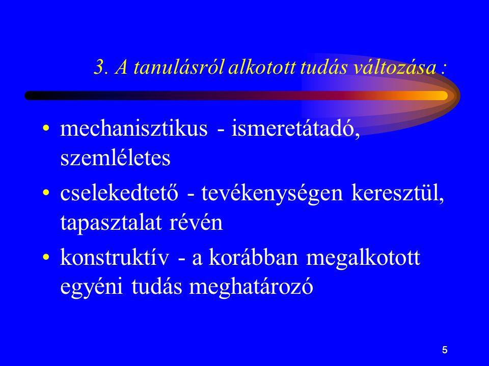 5 *3. A tanulásról alkotott tudás változása : •mechanisztikus - ismeretátadó, szemléletes •cselekedtető - tevékenységen keresztül, tapasztalat révén •