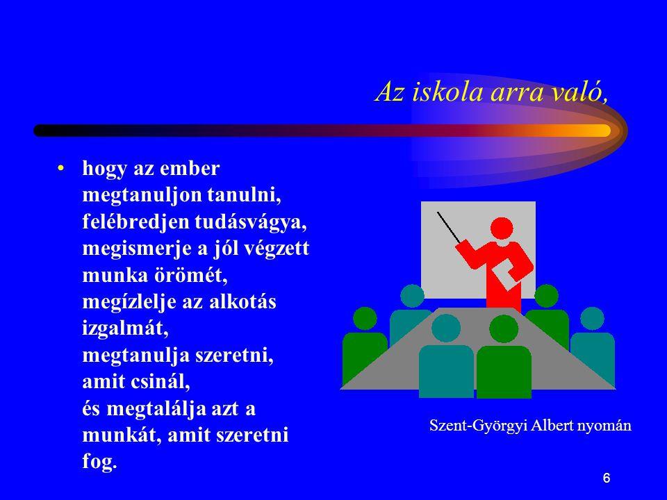 6 Az iskola arra való, •hogy az ember megtanuljon tanulni, felébredjen tudásvágya, megismerje a jól végzett munka örömét, megízlelje az alkotás izgalm