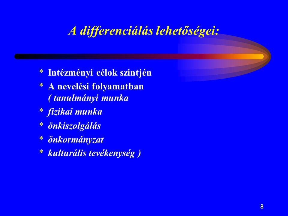 8 A differenciálás lehetőségei: *Intézményi célok szintjén *A nevelési folyamatban ( tanulmányi munka *fizikai munka *önkiszolgálás *önkormányzat *kul