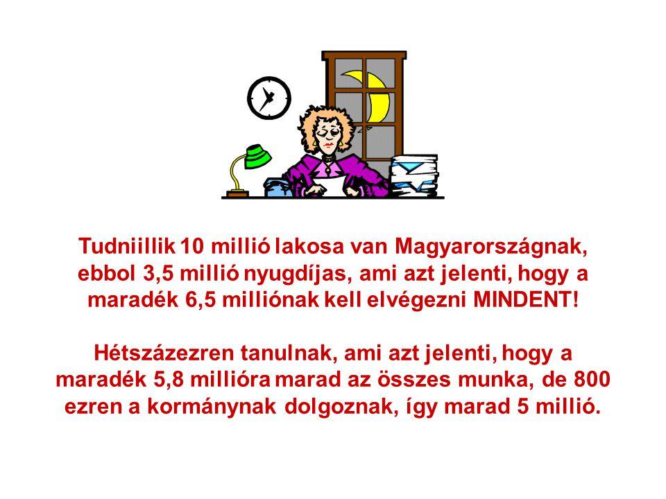Tudniillik 10 millió lakosa van Magyarországnak, ebbol 3,5 millió nyugdíjas, ami azt jelenti, hogy a maradék 6,5 milliónak kell elvégezni MINDENT! Hét