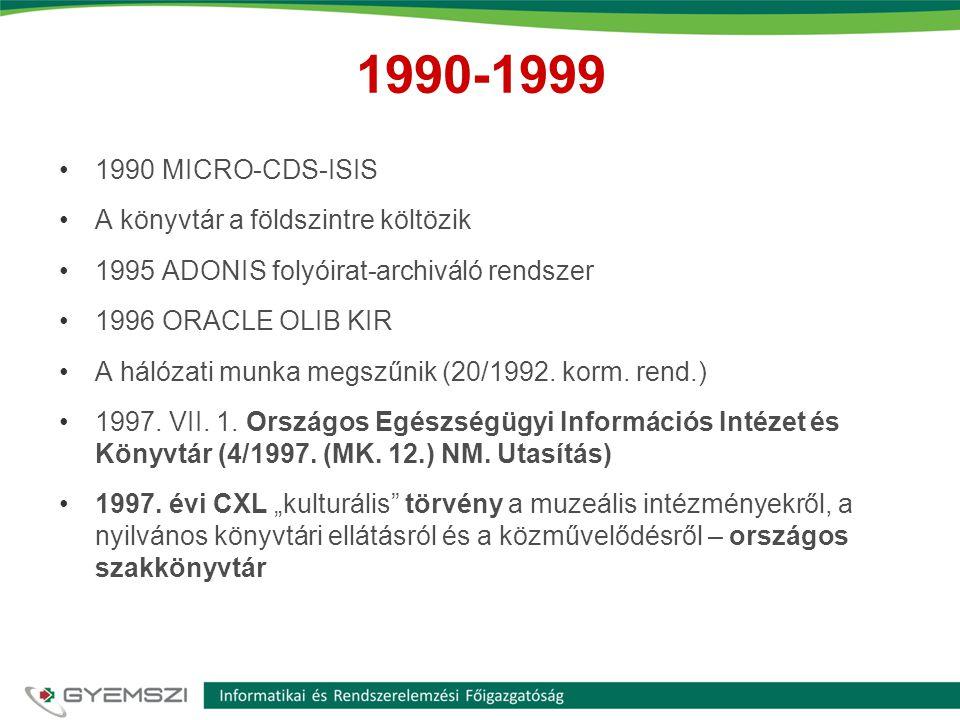 1990-1999 •1990 MICRO-CDS-ISIS •A könyvtár a földszintre költözik •1995 ADONIS folyóirat-archiváló rendszer •1996 ORACLE OLIB KIR •A hálózati munka me