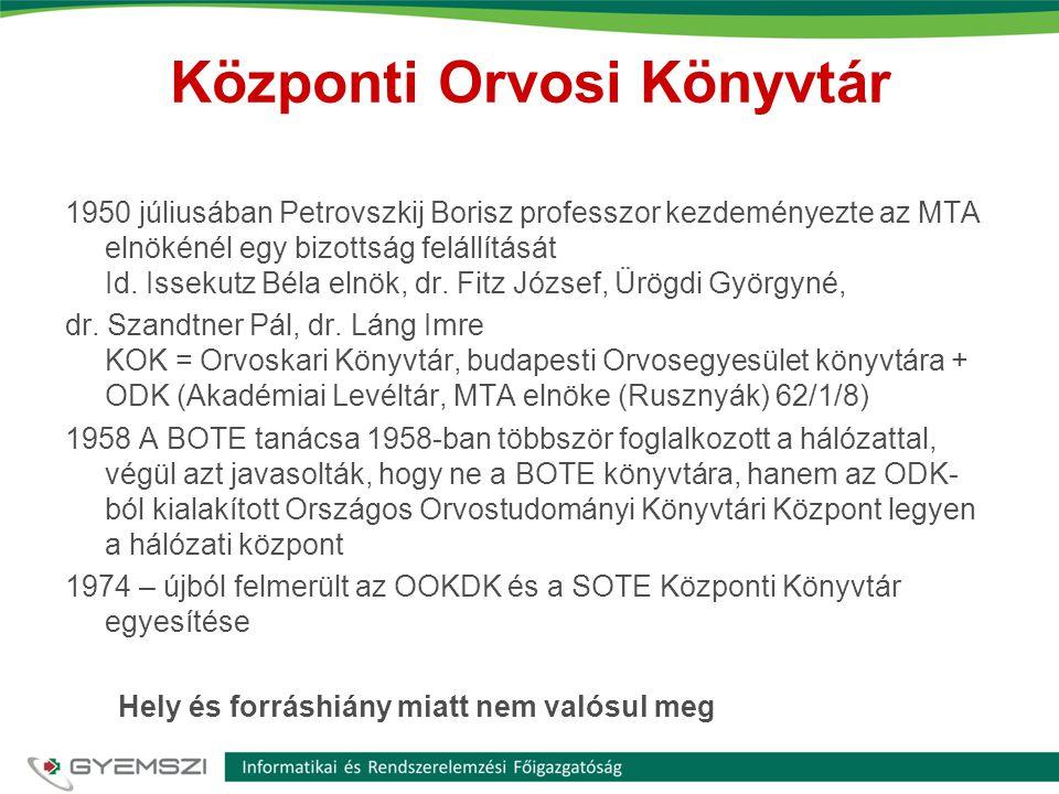 Központi Orvosi Könyvtár 1950 júliusában Petrovszkij Borisz professzor kezdeményezte az MTA elnökénél egy bizottság felállítását Id. Issekutz Béla eln