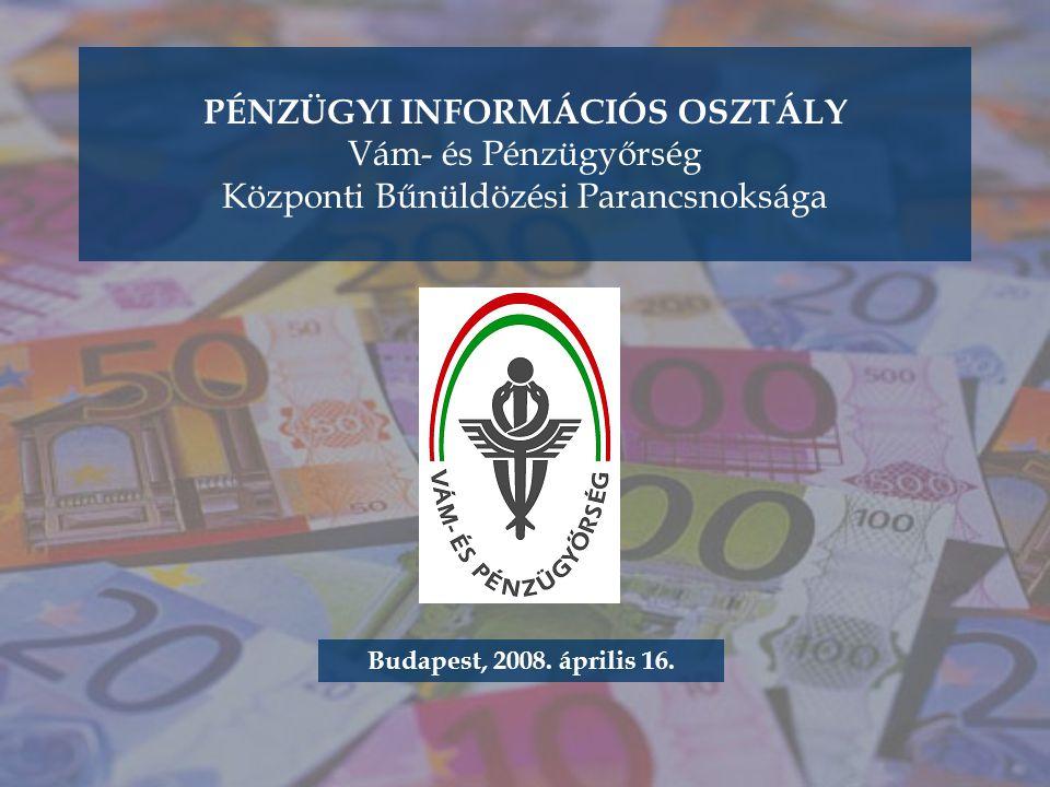 PÉNZÜGYI INFORMÁCIÓS OSZTÁLY Vám- és Pénzügyőrség Központi Bűnüldözési Parancsnoksága Budapest, 2008.