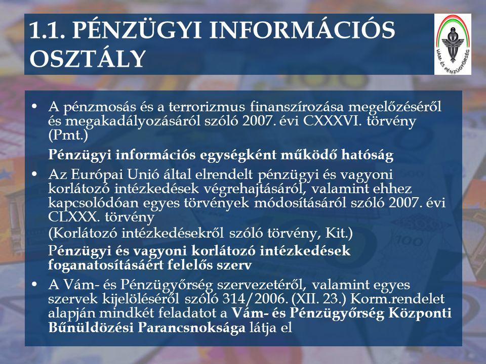 1.1. PÉNZÜGYI INFORMÁCIÓS OSZTÁLY •A pénzmosás és a terrorizmus finanszírozása megelőzéséről és megakadályozásáról szóló 2007. évi CXXXVI. törvény (Pm
