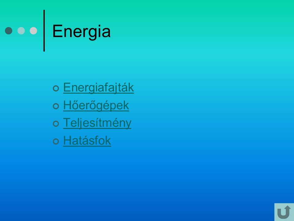 Energia Energiafajták Hőerőgépek Teljesítmény Hatásfok