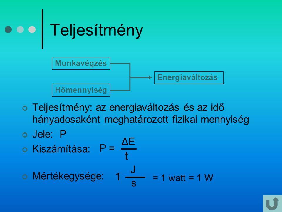 Teljesítmény Teljesítmény: az energiaváltozás és az idő hányadosaként meghatározott fizikai mennyiség Jele: P Kiszámítása: Mértékegysége: Munkavégzés