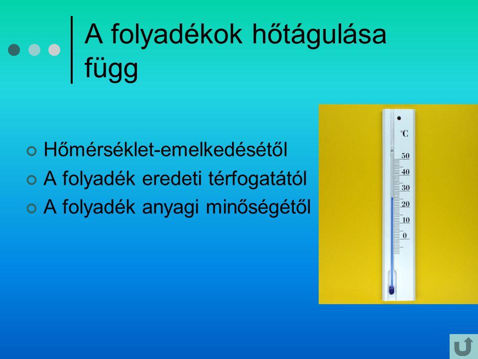 A folyadékok hőtágulása függ Hőmérséklet-emelkedésétől A folyadék eredeti térfogatától A folyadék anyagi minőségétől