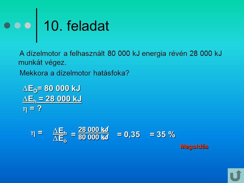 10. feladat A dízelmotor a felhasznált 80 000 kJ energia révén 28 000 kJ munkát végez. Mekkora a dízelmotor hatásfoka? Megoldás  E Ö = 80 000 kJ  E