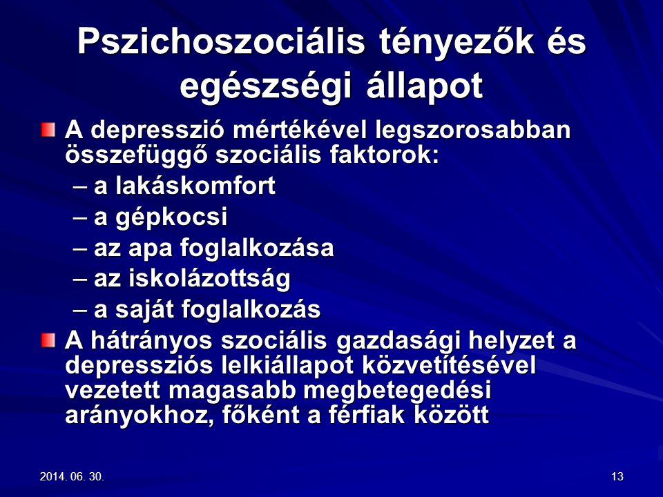 2014. 06. 30.2014. 06. 30.2014. 06. 30.13 Pszichoszociális tényezők és egészségi állapot A depresszió mértékével legszorosabban összefüggő szociális f