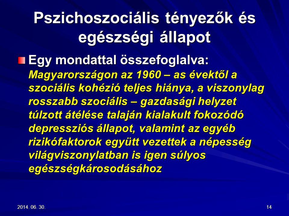2014. 06. 30.2014. 06. 30.2014. 06. 30.14 Pszichoszociális tényezők és egészségi állapot Egy mondattal összefoglalva: Magyarországon az 1960 – as évek