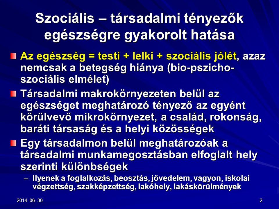 2014. 06. 30.2014. 06. 30.2014. 06. 30.2 Szociális – társadalmi tényezők egészségre gyakorolt hatása Az egészség = testi + lelki + szociális jólét, az